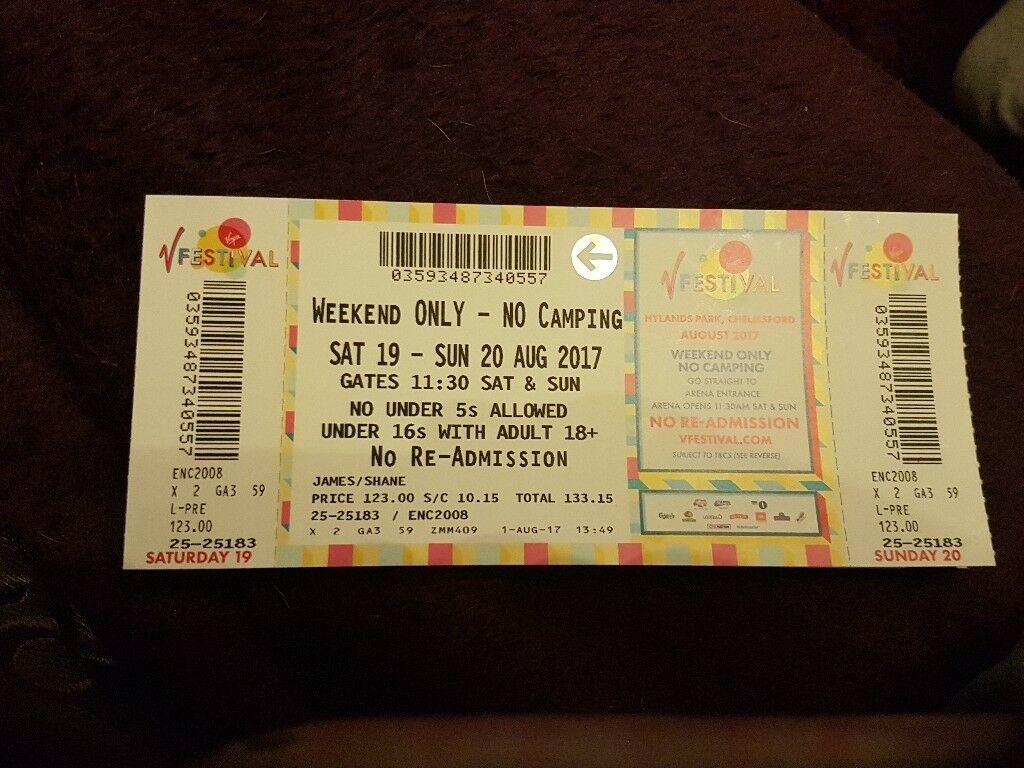 V festival weekend no camping ticket