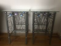 Beautiful metal/glass Jewelled bedside or lamp tables.