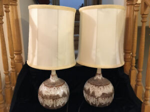 RETRO LAVA LOOK PAIR OF EARTHTONE FUNKY LAMPS