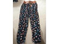 Flowery, baggy trousers