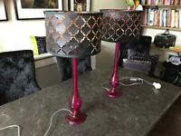 Dar Lighting - 2 Dillon Table Lamps in Purple Glass and Black and Copper Drum Shade