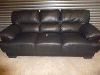 Black Leather 3+2-seater Suite (Sofa)