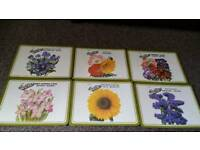 Set of 6 garden museum cork Placemats brand new
