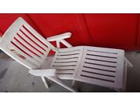 Sun lounger with foot rest faded white plastic