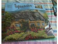 New tapestry printed canvas kit is of a thatched cottage and in a flower garden.