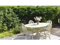 Shabby Chic Dining Table & 4 Chairs. Cream. Delivery Available.
