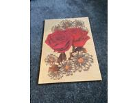 Shabby Chic small rose wooden picture