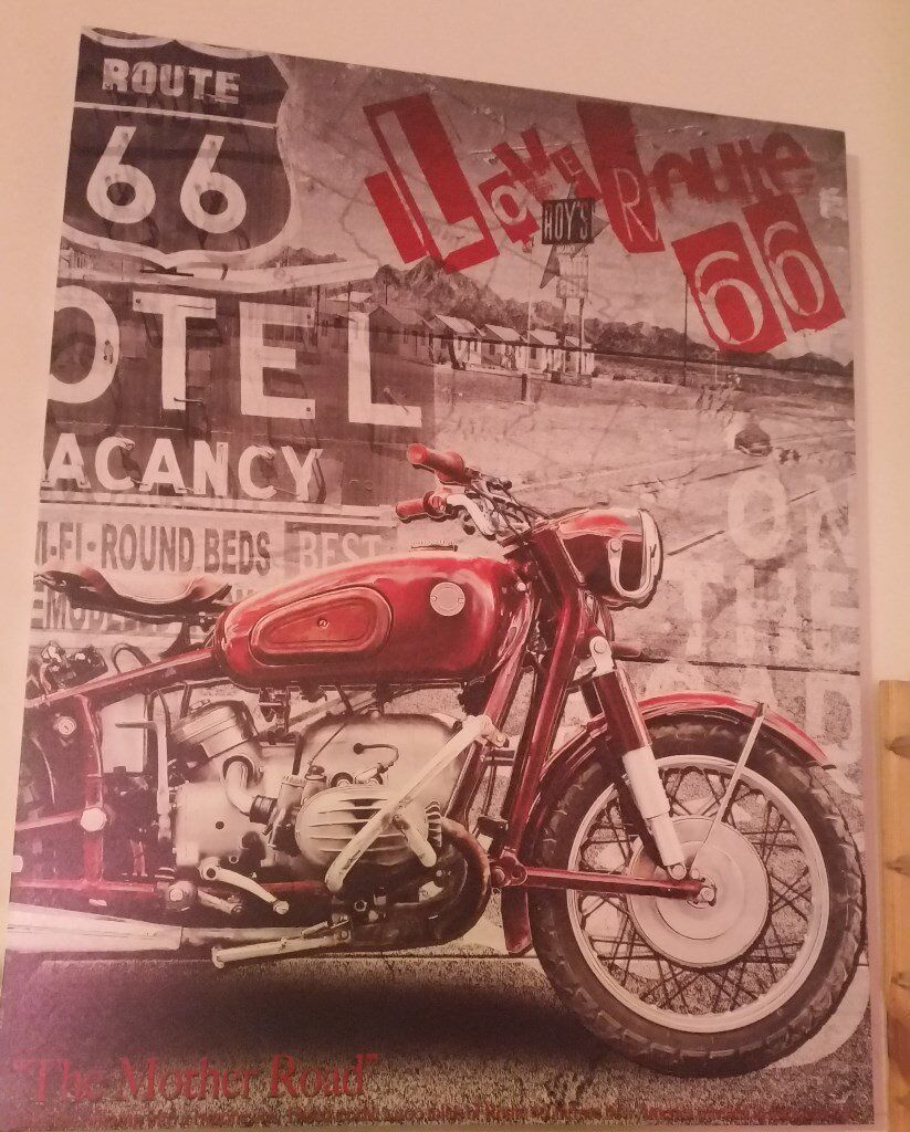 Route 66 Motorbike Canvasin Ramsbottom, ManchesterGumtree - Route 66 Motorbike Canvas, Good Condition, 90cm high, 70cm wide, selling due to downsizing Collection Only £15