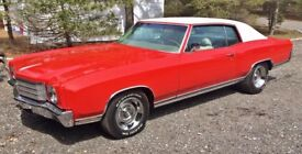 1970, 350, V8 Chevrolet Monte Carlo 2 door coupe. DVLA registered, duties paid, 12 months MOT