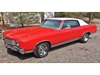 1970, 350, V8 Chevrolet Monte Carlo 2 door coupe. DVLA registered, duties paid, 12 months MOT