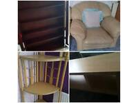 5 furniture items leather sofa chairs/cabinet/corner shelf/tv table