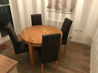 4 Seat Oak Dining Table with Leather High Back Chairs