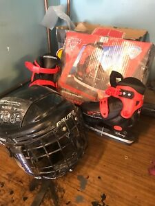 Child Lightening McQueen Skates and Bauer Helmet with face mask!