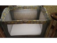"""Mothercare baby nursery """"sweet dreams"""" travel cot with extra mattress & cover"""
