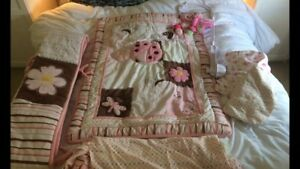 4 + 2 Pink butterfly crib sheet set with mobile + extra sheet