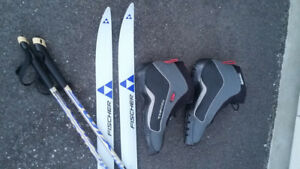 Cross country skis, boots, and poles - Fischer - like new