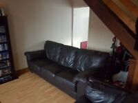 2 x 4 Seater Leather Sofas And 1 Leather Armchair