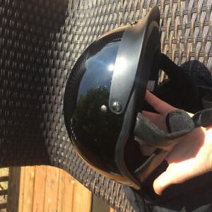 VCAN shorty half shell cruiser helmet motorcycle size L