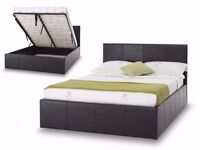★★ STORAGE OTTOMAN GAS LIFT UP DOUBLE BED FRAME ★★ BLACK OR BROWN WITH MATTRESS OPTION