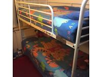 Metal bunk bed white with mattress very strong