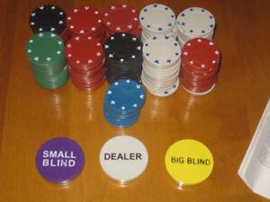 200 Jetons de Poker + Jetons DEALER / Big Blind / Small Blind