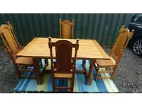 Table and chairs solid oak