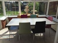 John Lewis contemporary white dining room table and 6 chairs, table extends to 8