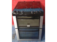C090 Stainless Steel Zanussi 60cm Double Oven Ceramic Hob Electric Cooker, Comes With Warranty