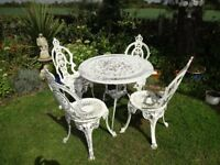 CAST ALUMINIUM GARDEN FURNITURE SET -- TABLE AND 4 CHAIRS ( CROWN TOPS )