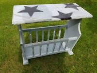 Wooden Side table and Magazine Rack - Holder - Shabby
