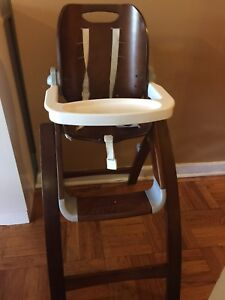 WOODEN HIGH CHAIR WITH SMALL AND LARGE TRAY ONLY $40