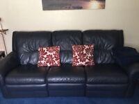 3 piece navy Italian leather sofa