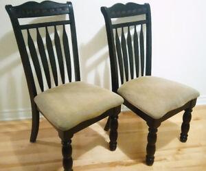 Ashley Furniture Set of 2 Ebony Wood Chairs