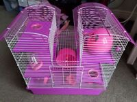 3 story pink hamster cage!