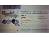 MASTER CLASS WOODEN CEILING-MOUNTED HANGING PAN RACK 61 X 51 CM