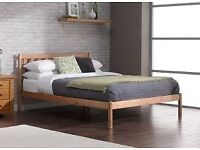 Double bed frame pine wood from dreams + memory foam mattress for sale