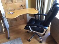 Adjustable ergonomic Desk and black leather chair - £30 - Absolute bargain