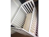 Space saving white cot