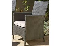 Rattan Effect Grey 2 Seater Highback  arm chairs