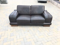 2 Seater Sofa (Chocolate Brown) Good Condition (From Pet-Free and Smoke-Free Home)