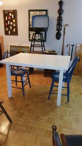 table de cuisine avec rallonge, bois massif, érable
