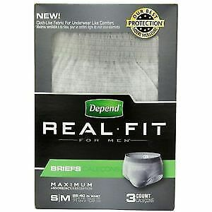 Depend Real Fit for Men Briefs Small/Medium, Pack/3