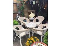 Wicker garden conservatory table and chairs