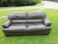 4 Seater Dark Brown Leather Sofa