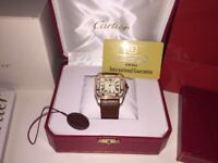 MENS CARTIER SANTOS 100 GOLD ICED OUT DIAMOND WATCH WITH BOX PAPERS TAGS