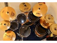 Premier Artist Birch Full Drum Kit with Cymbals and extras!