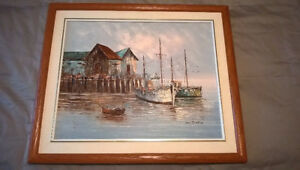 Original Boats in a Harbour Painting for Sale