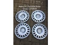 "2 sets of 4 Astra 15"" Genuine Hub Caps"