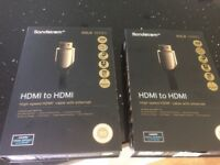 2 x 1m HDMI Gold cables