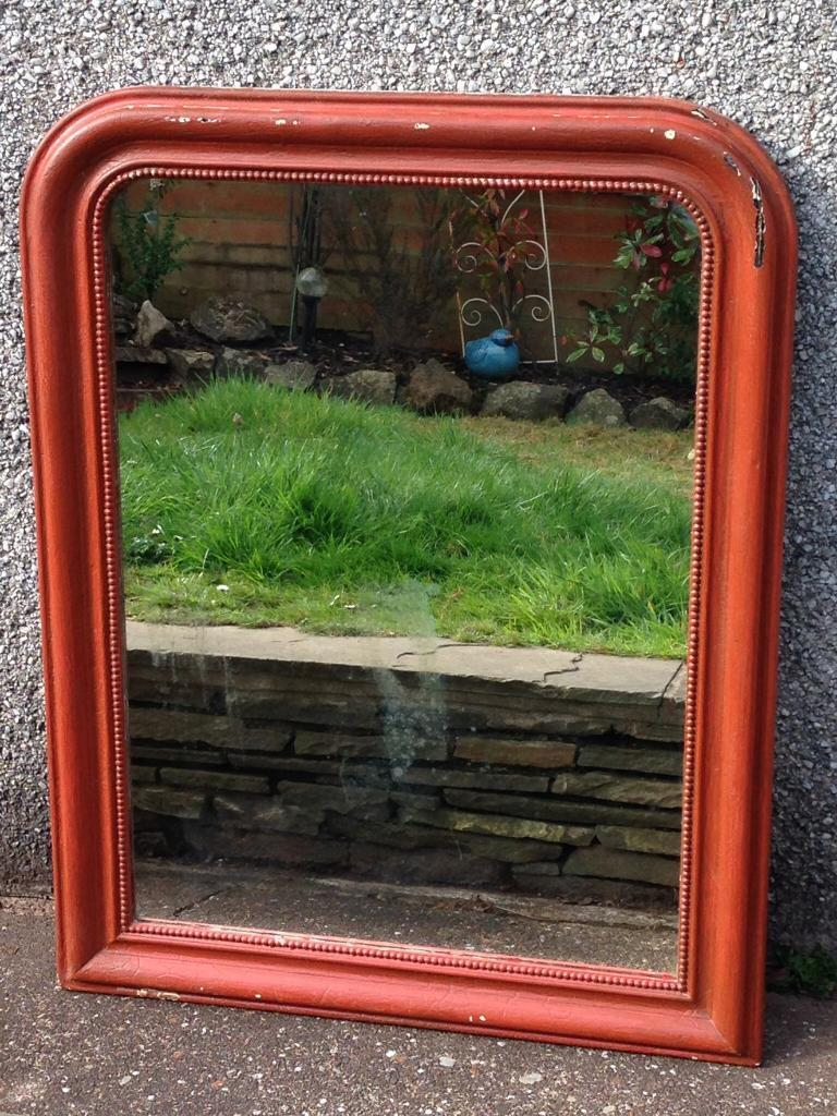 AWESOME VINTAGE SHABBY COUNTRY RUSTIC CHIC LARGE ORANGE/RED PAINTED ARCHED MIRROR